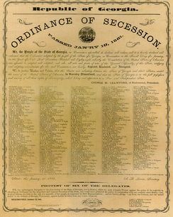 Facsimile of the 1861 Ordinance of Secession signed by 293 delegates to the Georgia Secession Convention at the statehouse in Milledgeville, Georgia January 21, 1861