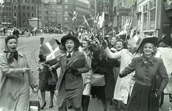 People celebrating the liberation of Denmark at Strøget in Copenhagen, 5 May 1945. Germany surrendered two days later