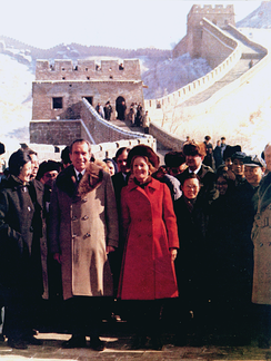The Nixons walked on the Great Wall of China during their historic trip in February 1972