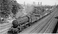 Westbound coal train between Ravensthorpe and Mirfield in 1953