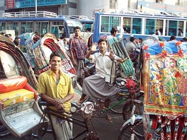 Cycle rickshaws are the most popular mode of transport in Dhaka