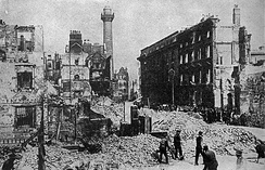 Sackville Street (now O'Connell Street), Dublin, after the 1916 Easter Rising