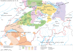 The Habsburg dominions around 1200 in the area of modern-day Switzerland are shown as      Habsburg, among the houses of      Savoy,      Zähringer and      Kyburg