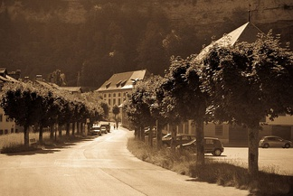 Nostalgic view of a street in Fribourg, Switzerland