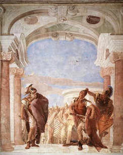The Anger of Achilles, by Giovanni Battista Tiepolo depicts the Greek hero attacking Agamemnon.
