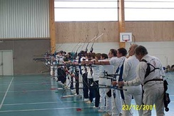 An indoor archery competition.