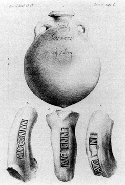 Amphorae bearing a titulus pictus and potters' stamps, found at Monte Testaccio