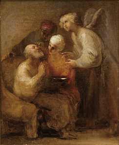 Tobias heals the blindness of his father Tobit, by Domingos Sequeira