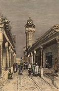 Souk at Tunis, wood engraving by T. Taylor, 1886