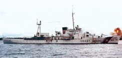 USCGC Duane (WPG-33) shelling targets in Vietnam in 1967, where they played an active role in Operation Market Time
