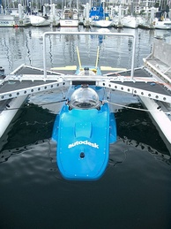 "Experimental sub dive in Monterey Bay of the DeepFlight Aviator. In a radical redesign of the submarine, it ""flies"" underwater like an airplane rather than using ballast like a blimp. The designer, Graham Hawkes, thinks that a variation of this design could reach the bottom of the deepest trench in the ocean."