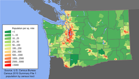 Population density map of Washington