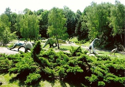 The Dinosaurs Valley (reconstructions of prehistoric reptiles) within Silesian Park in Poland's Upper-Silesian Metropolis.