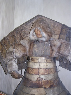 Laminar armour of hardened leather enforced by wood and bones worn by the Chukchi, Aleut, and Chugach (Alutiiq)[9]