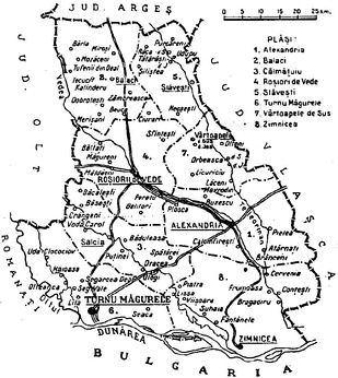 Map of Teleorman County as constituted in 1938.