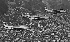 195th Fighter-Bomber Squadron - North American F-86A Sabre Formation over Los Angeles, 1954