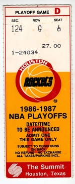 A ticket for Game 2 of the 1987 Western Conference Semifinals between the Rockets and the Seattle SuperSonics.