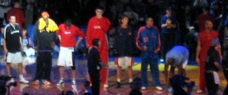 Yao (fourth from left) standing with the Sophomores team during the 2004 Rookie Challenge game.
