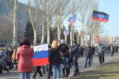Pro-Russian protesters in Donetsk, 9 March 2014