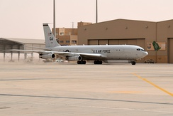 A USAF E-8C JSTARS taxies at Prince Sultan Air Base, 8 March 2020