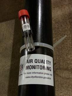Nitrogen dioxide diffusion tube for air quality monitoring. Positioned in the City of London