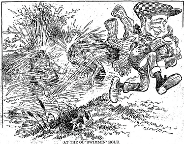 Cartoon published in the Minneapolis Tribune on 28 July, depicting Governor Eberhart running off with Gordon and Young's clothes