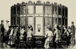 Kaiserpanorama consists of a multi-station viewing apparatus and sets of stereo slides. Patented by A. Fuhrmann around 1890.[1]