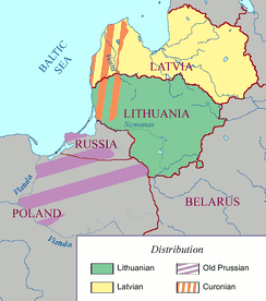 Distribution of the Baltic languages in the Baltic (simplified)