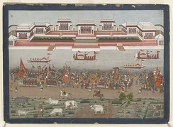 Procession of Nawab Shuja-ud-Daula at Faizabad. From an album of 18th century Indian watercolours.