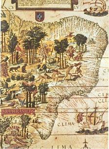 Карта Бразилии, выпущенная португальскими исследователями в 1519.