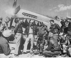 General Claire Chennault with a P-51 Mustang and pilots of the 23rd FG