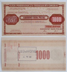 "A traveller cheque, one of the types of ""złoty dewizowy"""