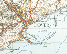 1945 Ordnance Survey map of Dover, showing the harbour