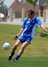 A player from a Canada GAA club shoots for goal