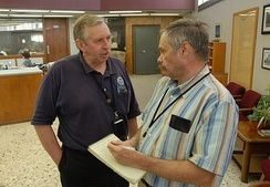 News and Eagle reporter Robert Barron interviews FEMA's Charles Henderson following the 2007 Kingfisher flood.