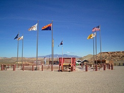 The Four Corners Monument, with Ute Mountain in the distance.