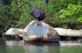 Monument at the site of Gen. Clinton's dam at the river's source at Otsego Lake in Cooperstown, New York