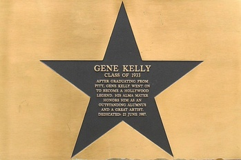 Plaque honoring Gene Kelly at his alma mater, the University of Pittsburgh