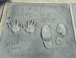 George Clooney cast his hands and shoes in the Grauman's Chinese Theatre in 2007.[44]