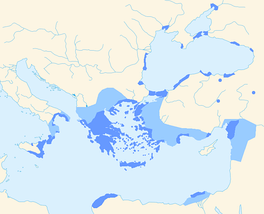 Greek-speaking areas during the Hellenistic period (323 to 31 BC). Dark blue: areas where Greek speakers probably were a majority.Light blue: areas that were Hellenized.