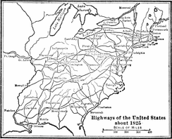 Highways in the USA circa 1825