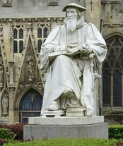 Statue of Richard Hooker, whose emphases on reason, tolerance and inclusiveness influenced Anglicanism.