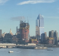 View of 30 Hudson Yards (left, under construction), and 10 Hudson Yards (right, completed) in February 2017