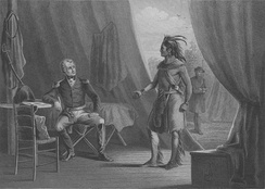 William Weatherford surrendering to Andrew Jackson at the end of the Creek War. The peace imposed on the Creek saw them cede half of their territory to the United States.