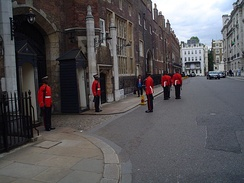 Sentries of the Jamaica Regiment are posted outside St James's Palace