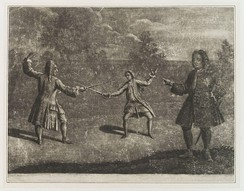The Hamilton–Mohun Duel of 1712. Charles Mohun, 4th Baron Mohun fighting James Hamilton, 4th Duke of Hamilton in Hyde Park; both lost their lives.