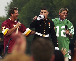 """NFL Kickoff"" event on September 4, 2003: Joe Theismann (L) and Joe Namath (R) at a military tribute"