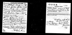 WWI draft card, the lower left corner to be removed by men of African background to help keep military segregated