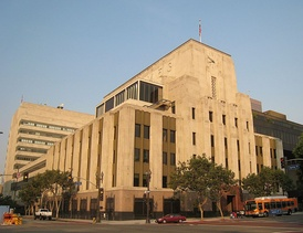 Los Angeles Times Building, seen from the corner of 1st and Spring streets