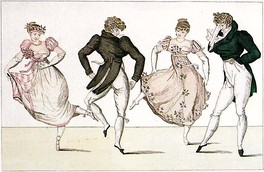 "The ""La Trénis"" figure of the Contredanse, an illustration from Le Bon Genre, Paris, 1805"